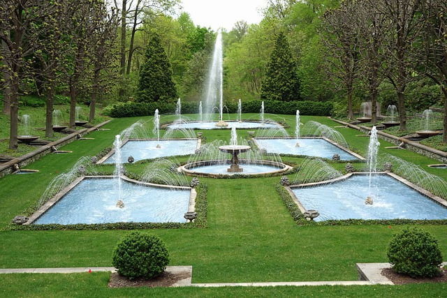 Free photo garden fountains park free image on for Landscaping longwood
