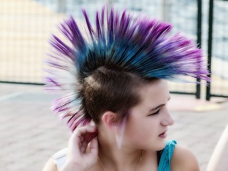 Young Girl Youth Punk Hair Style Look Face