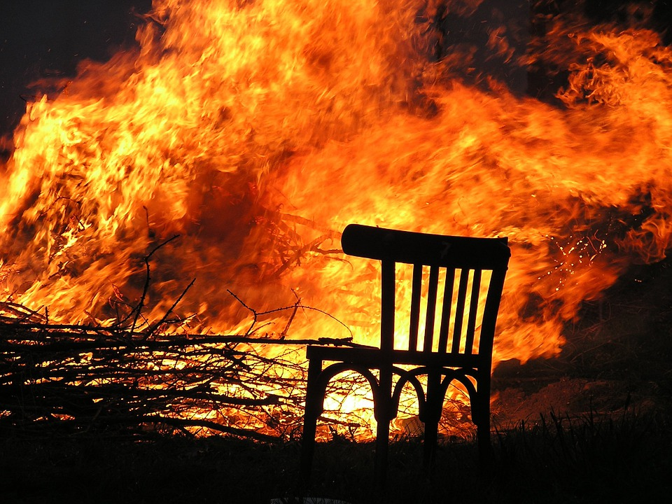 Free photo Fire Flame Burn Chair Wood Fire Free Image on