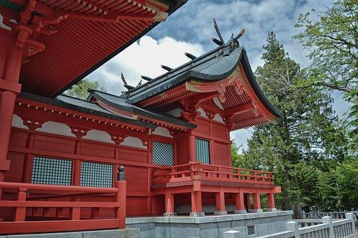 フジミ, 日本, 神社, 寺, 信仰, 宗教, 空, 雲, 木, アーキテクチャ