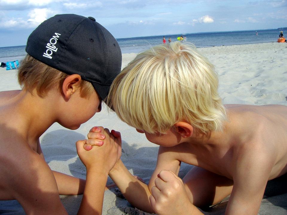 Braccio Di Ferro, Spiaggia, Forte, Bambini, Biondo