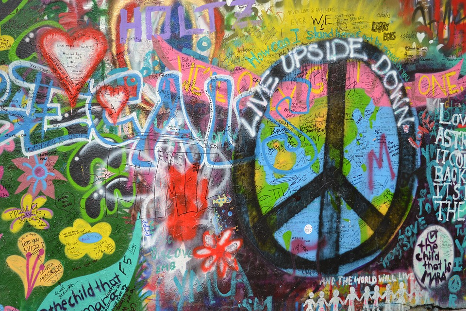 free photo lennon wall prague love graffiti free
