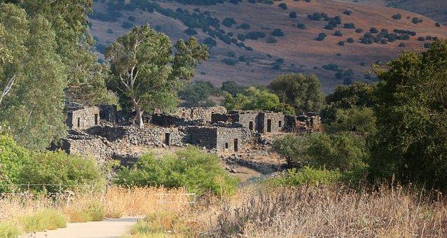被遗弃的废墟, 村, 鬼城, Yahudia, 戈兰高地以色列, 古代, 历史