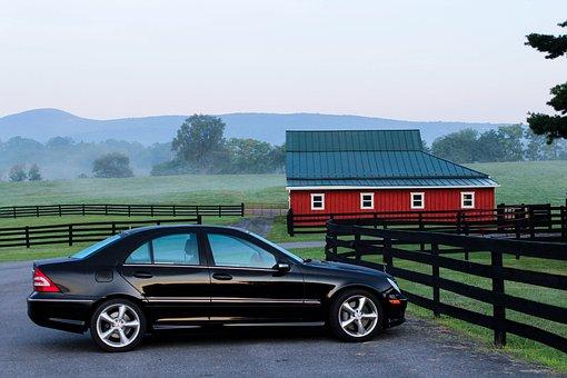 自動車, 車, 納屋, ファーム, 牧場, 朝早く