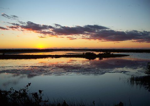 メリット島, フロリダ州, 日没, 自然, 水, 雲