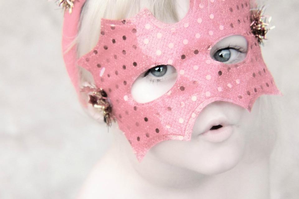 Jeune Fille, Enfant, Portrait, Rose, Masque, Blond