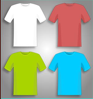 Tシャツ, シャツ, 緑, 赤, 白, ブルー, 洋服, 衣服, 衣類