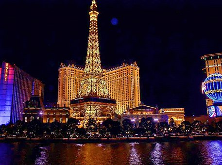 Las Vegas, Night, Monument, Paris