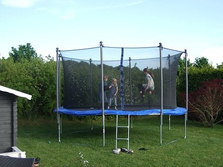 Trampoline Children Playing Child Jump Hap