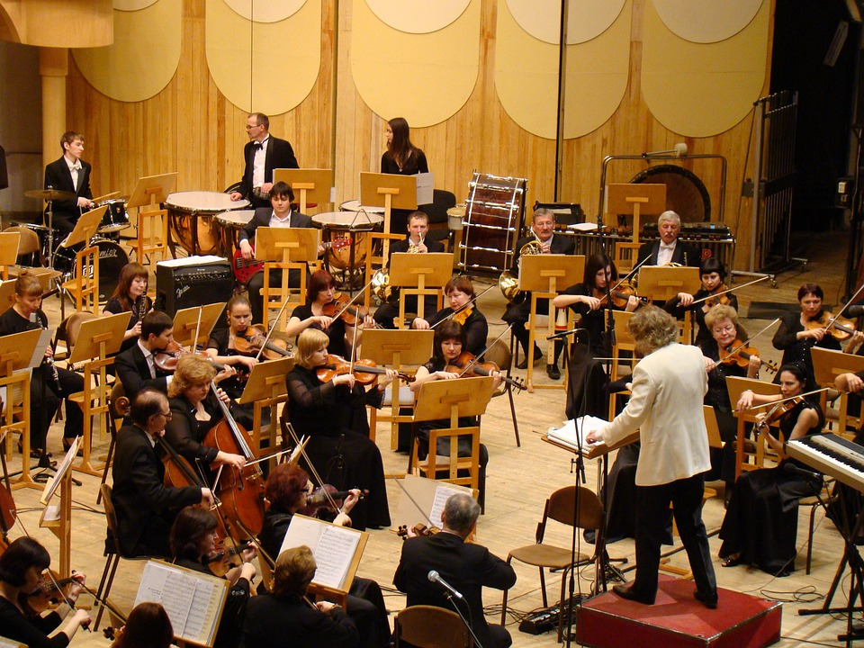 交響楽団, コンサート, 交響楽団のホール, 音楽, 指揮者, ヴァイオリン, チェロ, 管楽器