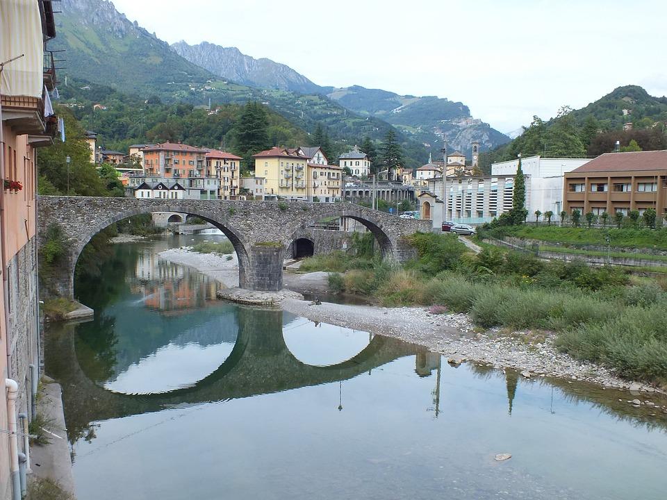 Brücke, Italien, Spiegelbild, Fluss, Angler, Landschaft