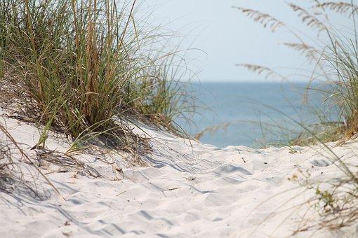 Strand, Ozean, Gras, Sand Ozean, Blau