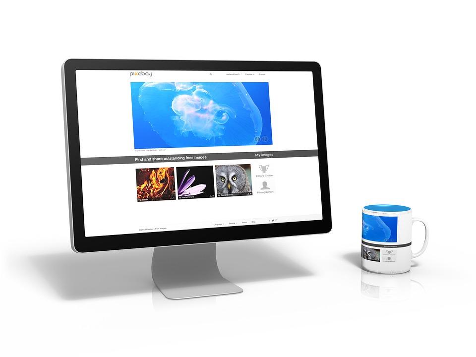 Pc, コンピューター, 画像, インターネット ページ, Pixabay, カップ, テーブル, ミラー