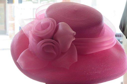 Hat Pink Hat Flower Ribbon Dressy Elegant
