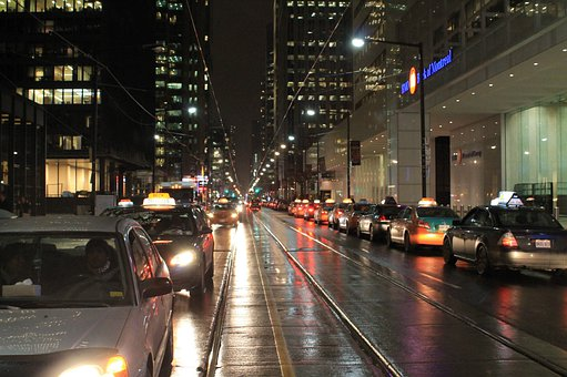 Traffic, Cars, Street, City, At Night