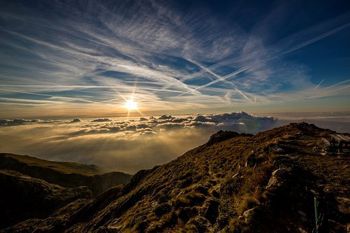 Горы, Солнце, Облака, Пик, Саммит