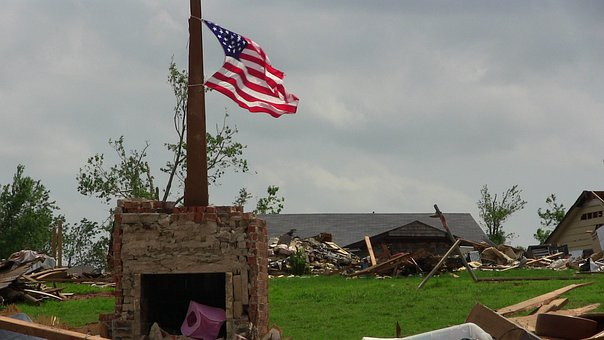 Tornado Destruction Flag American America