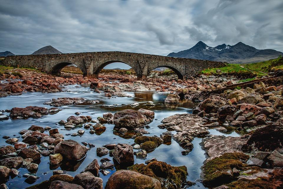 Ponte, Scozia, Cielo, Blu, Acqua, Muratura, Nubi
