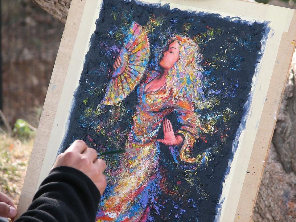 通りの画家, ストリートアーティスト, ペイント, 女性, イメージ, 色, 手, ブラシ