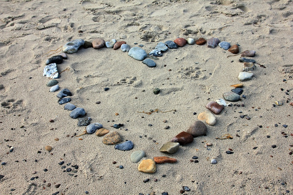 Beach, Sand, Stones, Heart, Love, Vacations