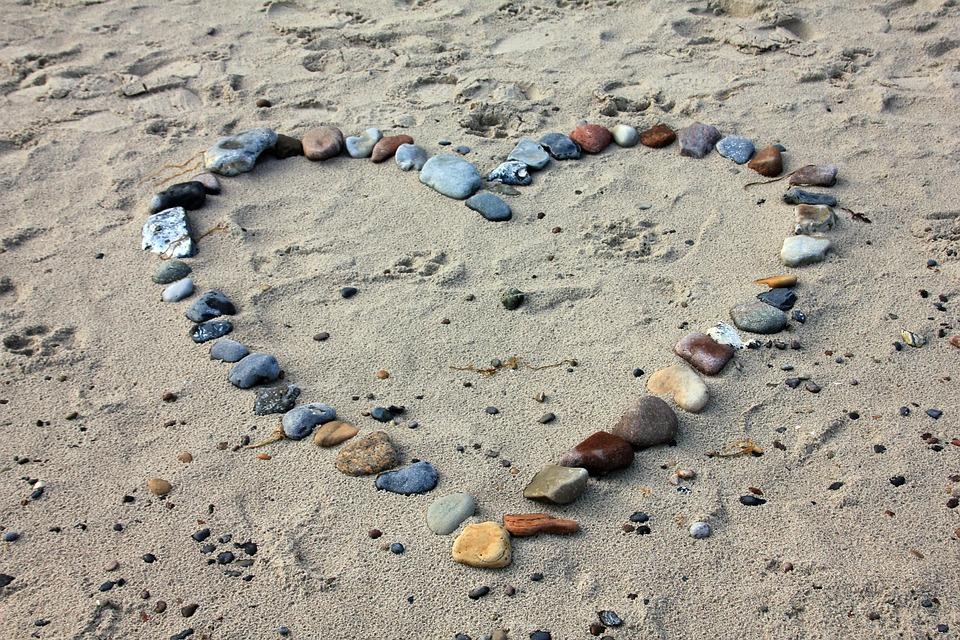 Beach, Sand, Stones, Heart, Love, Vacations