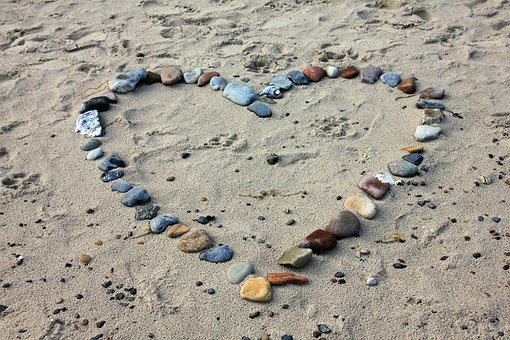 Beach, Sand, Stones, Heart, Love