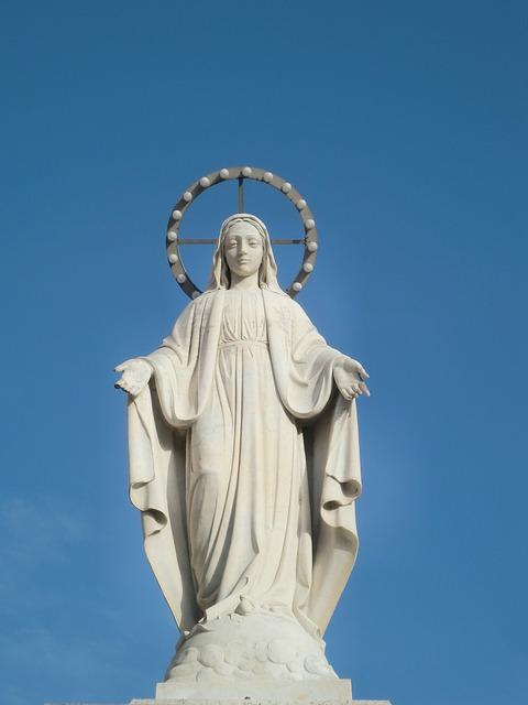 Free Photo Statue Maria White Halo Sky Free Image