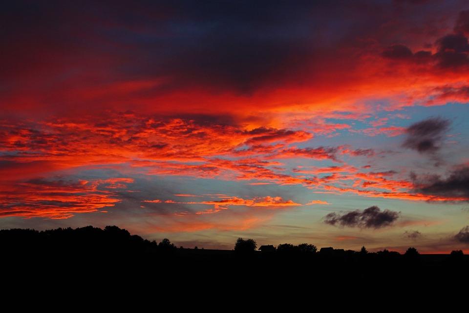 Sunset, Clouds, Afterglow, Abendstimmung, At Dusk, Red