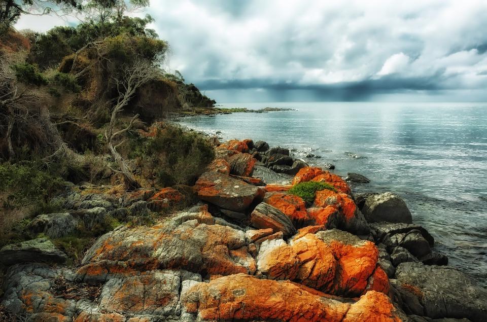 Zieloni Plaży, Tasmania, Australia, Zatoka, Port, Wody
