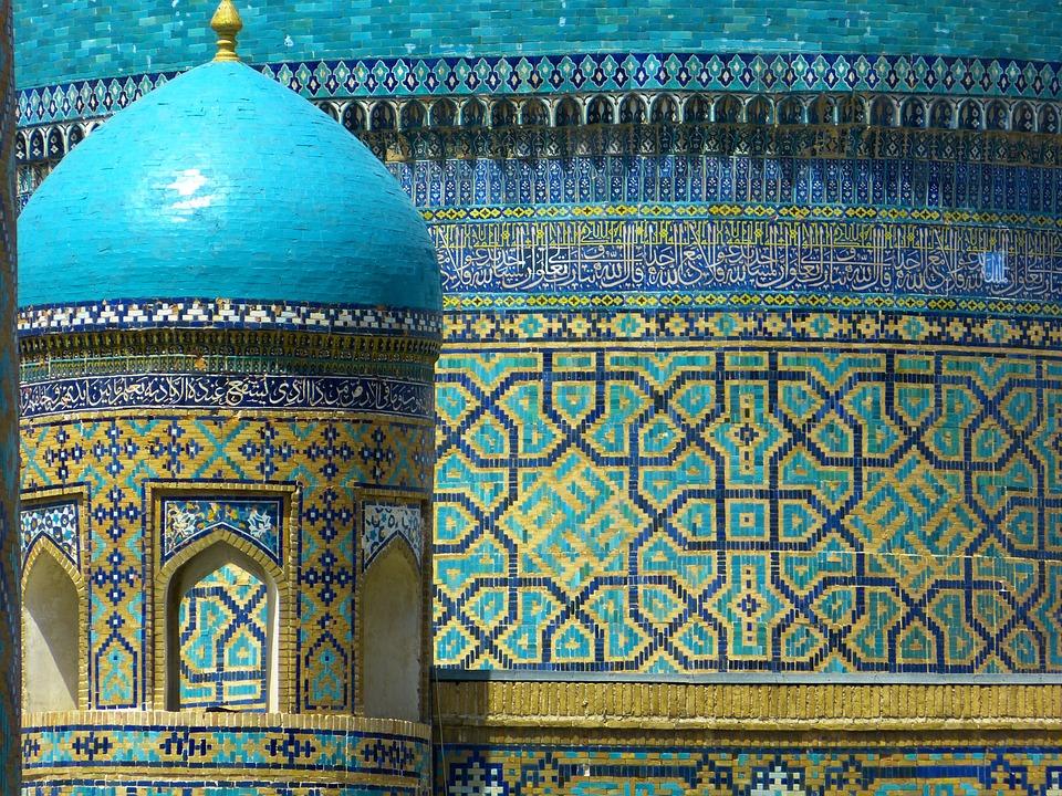撒马尔罕, 修道院, 乌兹别克斯坦, 马赛克, 模式, 巧妙, 绿松石, 马约里卡, 陶瓷, 瓦