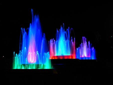 Water, Fountain, Illuminated, Colorful