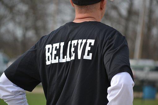 Believe, Back, Man, Male, Wearing