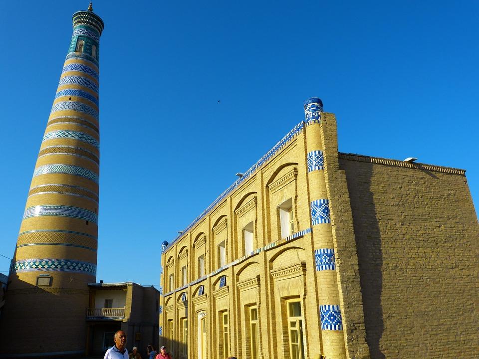 希瓦, Chodja 伊斯兰教尖塔, 高, 马赛克, 色彩缤纷的乌兹别克斯坦