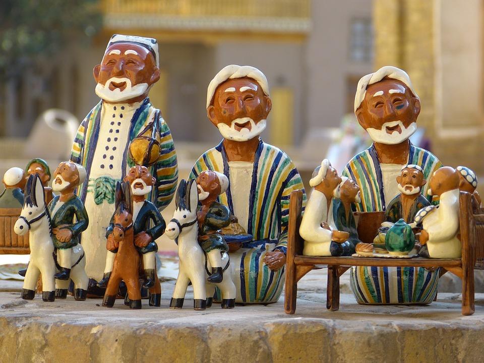 泥人, 乌兹别克斯坦, 陶瓷, 陶, 纪念品, Mitbringsel, 装饰, 内存