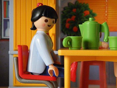 玩具, 普雷摩比, 儿童, 孩子, 男孩, 播放, 房子, 游戏, 数字, 早餐