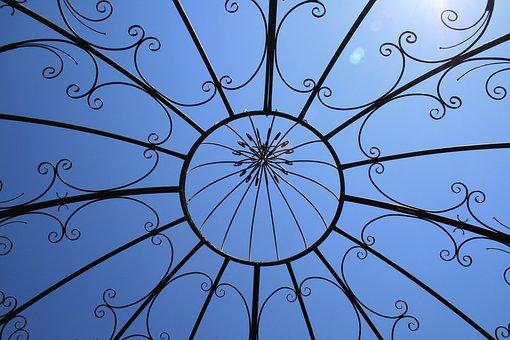建設, 金属, 機能, 庭, ブラック, 華やかです, 空, 青, 日光