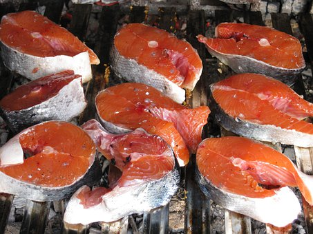 Salmon, Raw, Grilled, Fish, Seafood
