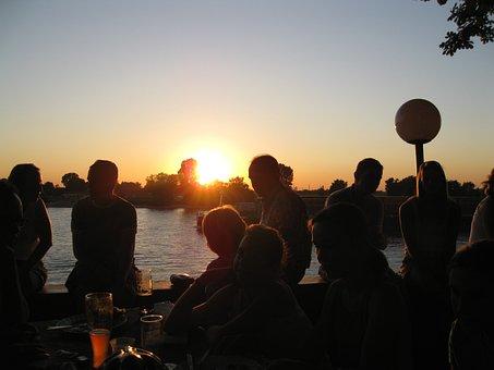 Beer Garden, Sunset, Fun, After Work