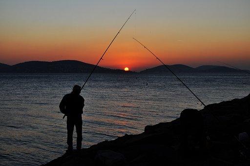 日落, 鱼竿, 渔