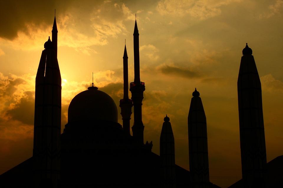 Bangunan, Masjid, Matahari Terbenam, Bayangan Hitam