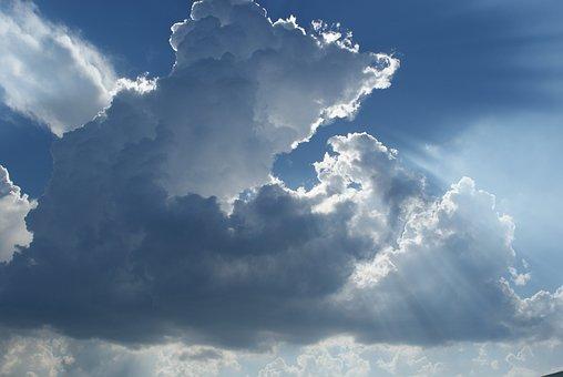 太陽, 雲, 空, 曇り, 光線