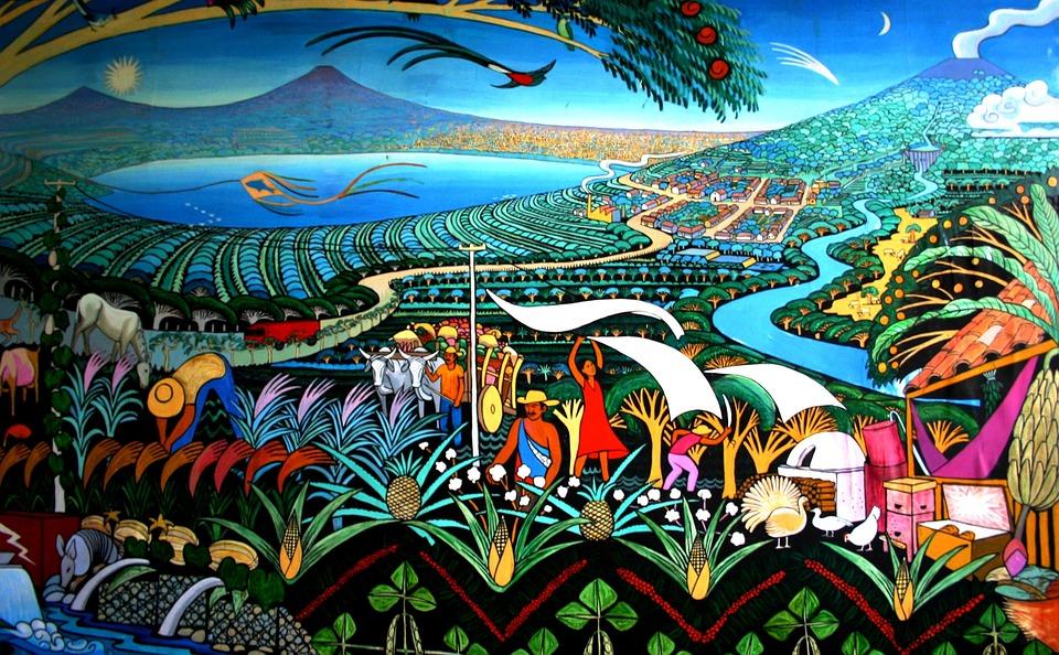 Nicaragua, Peintures Murales, Lac, Volcans