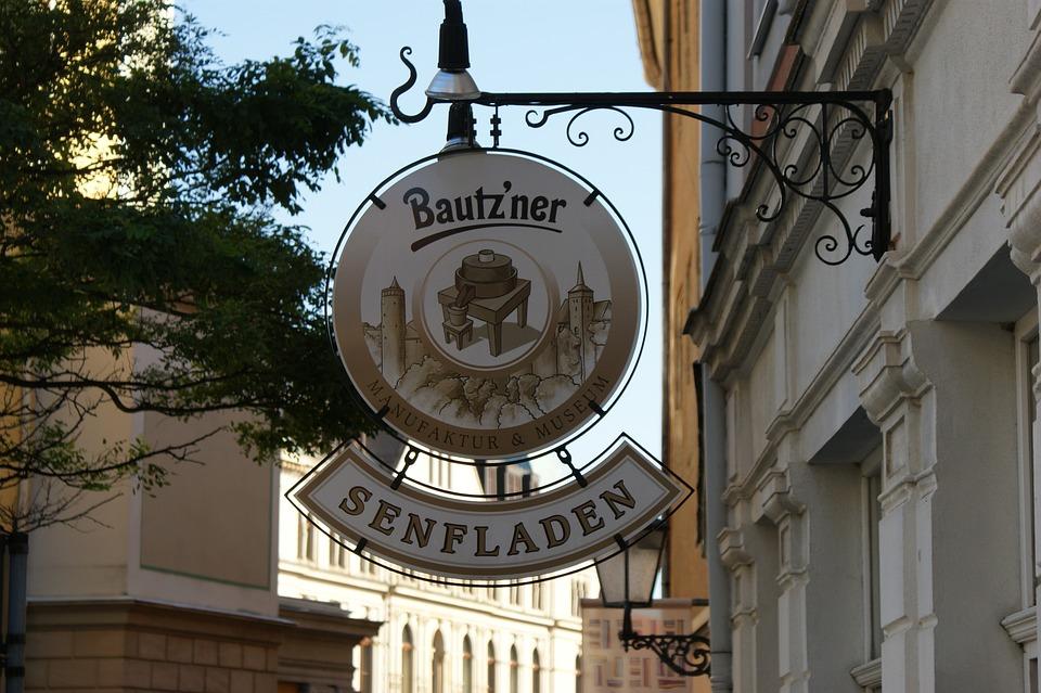 Bautzen, Deutschland, Shopsign, Senf, Architektur