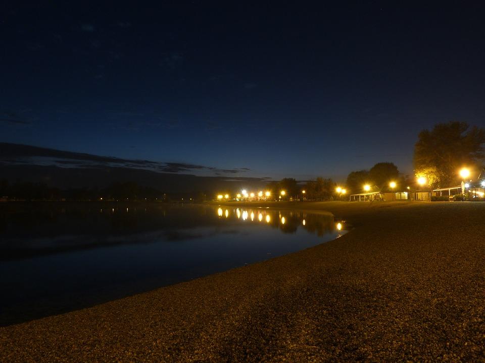 Lake Water Beach Sand Shore Night Evening Foggy