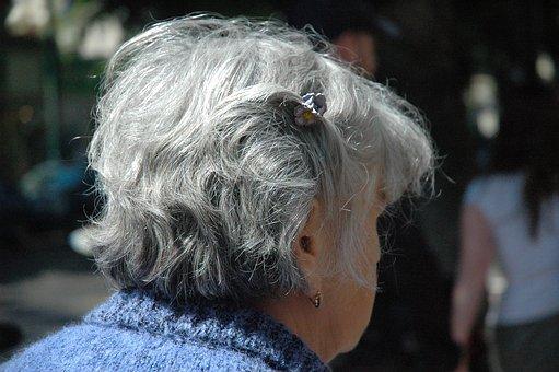 女性, シニア, 市民, 頭, 髪, グレー, ホワイト, 高齢者, 古い