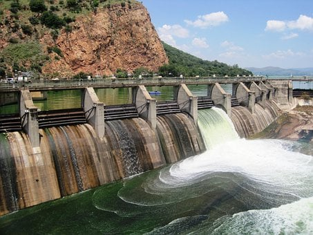 Dam, Water, Mass, Sluice, Open