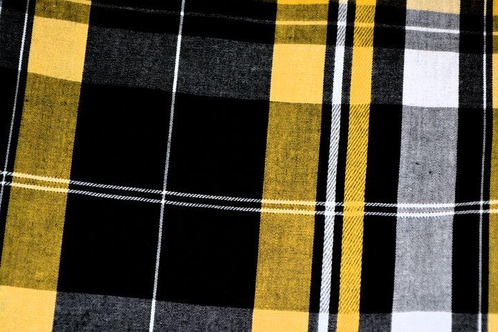 Plaid, Yellow, Black, Pattern, Fabric