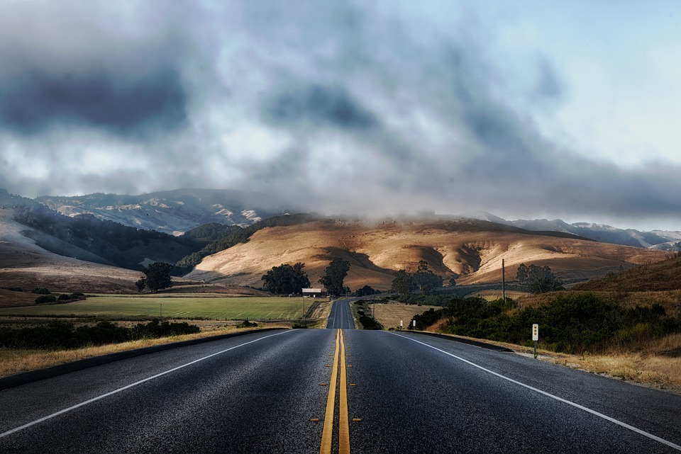 California, Road, Highway, Hills, Landscape, Scenic