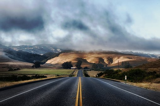Californie, Route, Autoroute, Collines