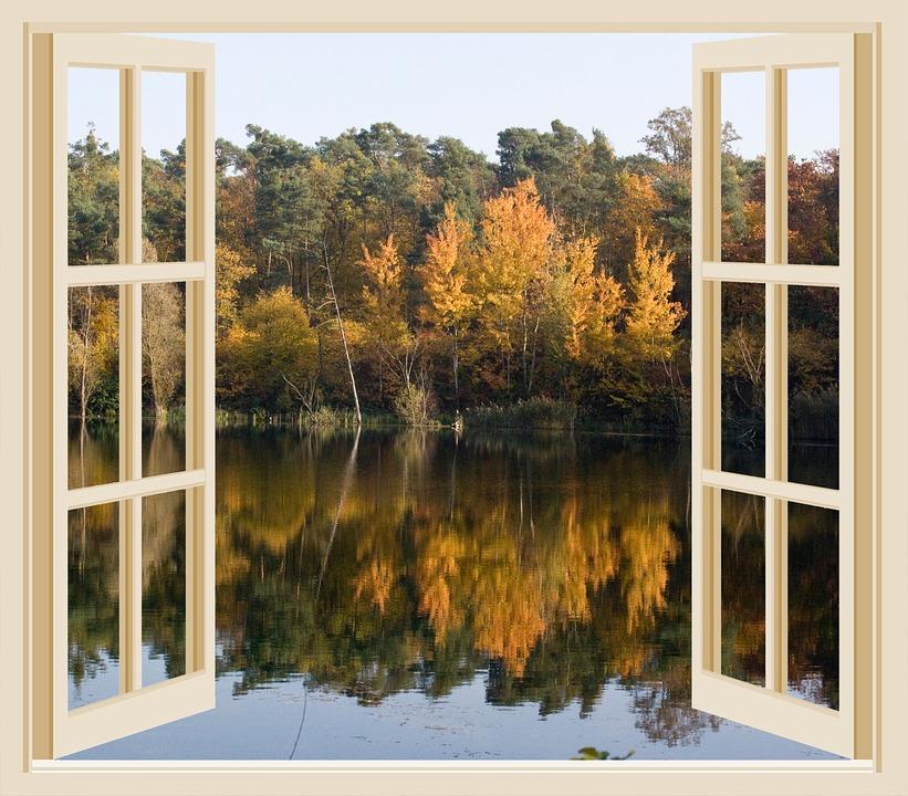Free Illustration Autumn Lake Pond Window Open Free